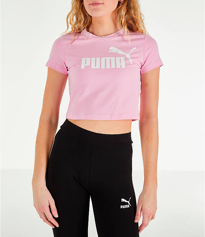 Front view of Women's Puma Amplified Cropped T-Shirt in Pale Pink