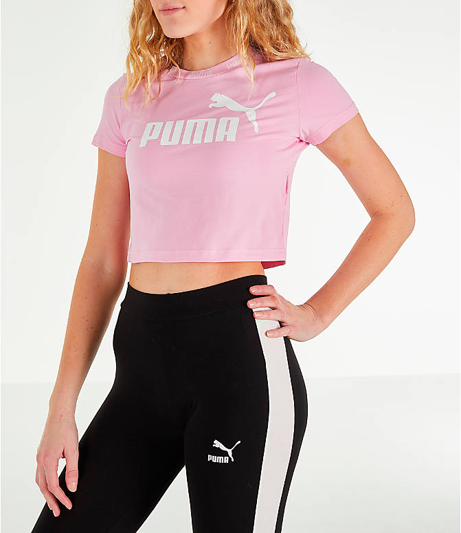 Front Three Quarter view of Women's Puma Amplified Cropped T-Shirt in Pale Pink