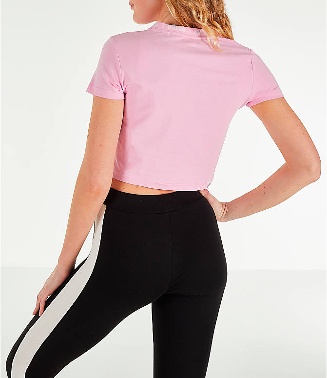 Back Left view of Women's Puma Amplified Cropped T-Shirt in Pale Pink