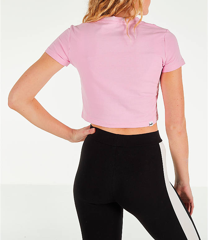Back Right view of Women's Puma Amplified Cropped T-Shirt in Pale Pink