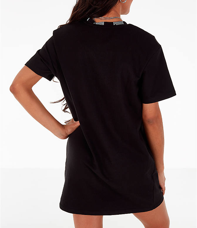 Back Right view of Women's Puma Amplified Dress in Black