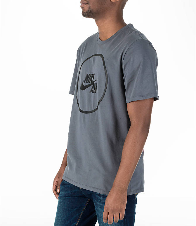 Front Three Quarter view of Men's Nike Air Logo T-Shirt in Grey