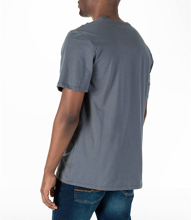 Back Left view of Men's Nike Air Logo T-Shirt in Grey
