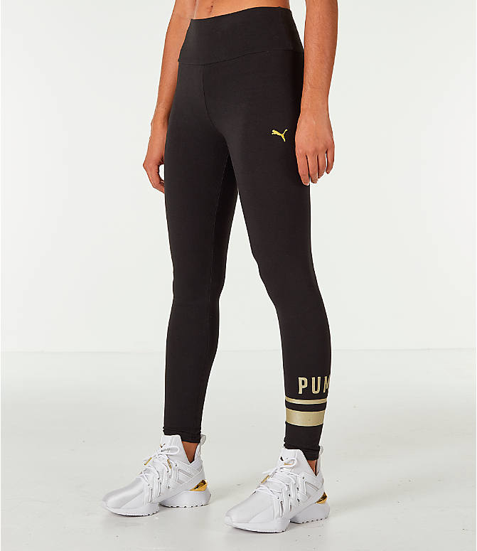 Front view of Women's Puma Logo Leggings in Black/Gold