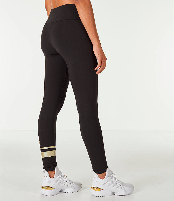 Back Right view of Women's Puma Logo Leggings in Black/Gold
