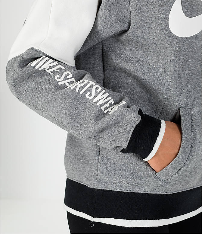 Detail 1 view of Women's Nike Sportswear Archive Hoodie in Carbon Heather/Sail