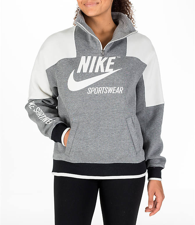 Front view of Women's Nike Sportswear Archive Hoodie in Carbon Heather/Sail