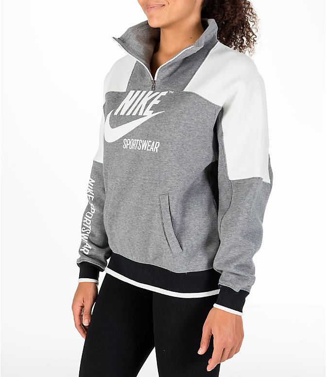 Front Three Quarter view of Women's Nike Sportswear Archive Hoodie in Carbon Heather/Sail