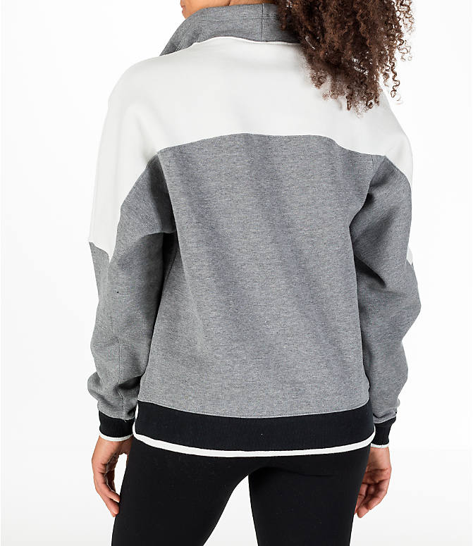 Back Left view of Women's Nike Sportswear Archive Hoodie in Carbon Heather/Sail