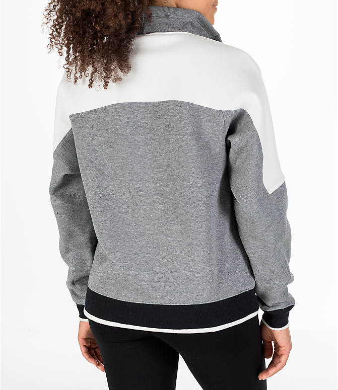 Back Right view of Women's Nike Sportswear Archive Hoodie in Carbon Heather/Sail