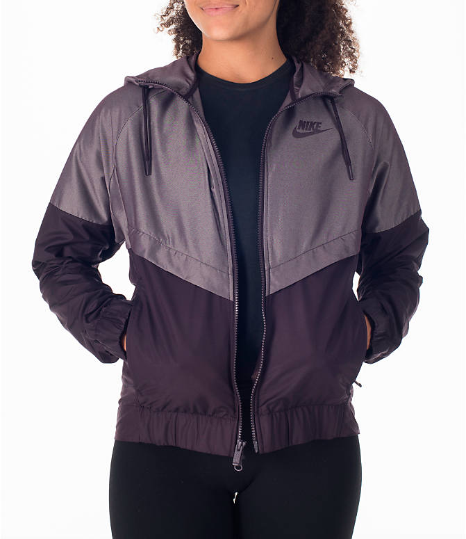 Detail 1 view of Women's Nike Sportswear Ripstop Windrunner Jacket in Port Wine