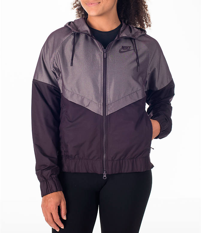 Front view of Women's Nike Sportswear Ripstop Windrunner Jacket in Port Wine