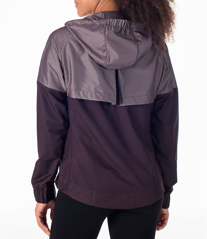 Back Left view of Women's Nike Sportswear Ripstop Windrunner Jacket in Port Wine