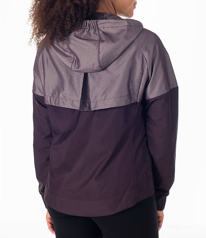 Back Right view of Women's Nike Sportswear Ripstop Windrunner Jacket in Port Wine