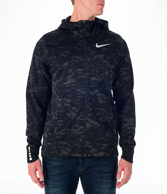 Front view of Men's Nike Therma Elite Basketball Hoodie in Black/White