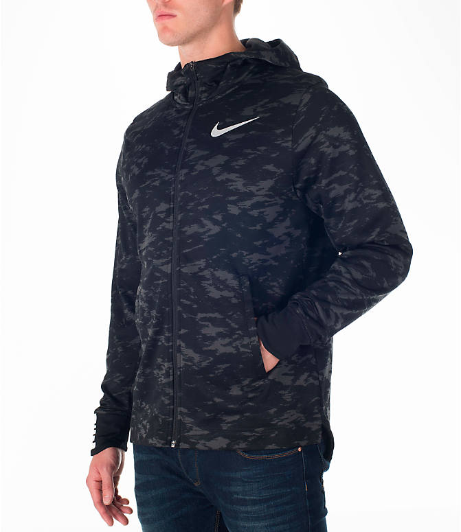 Front Three Quarter view of Men's Nike Therma Elite Basketball Hoodie in Black/White