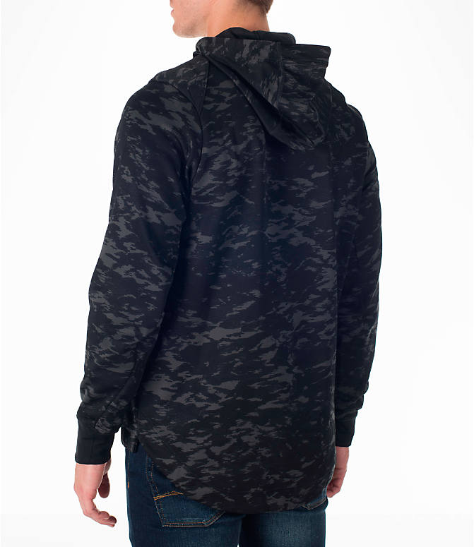 Back Left view of Men's Nike Therma Elite Basketball Hoodie in Black/White