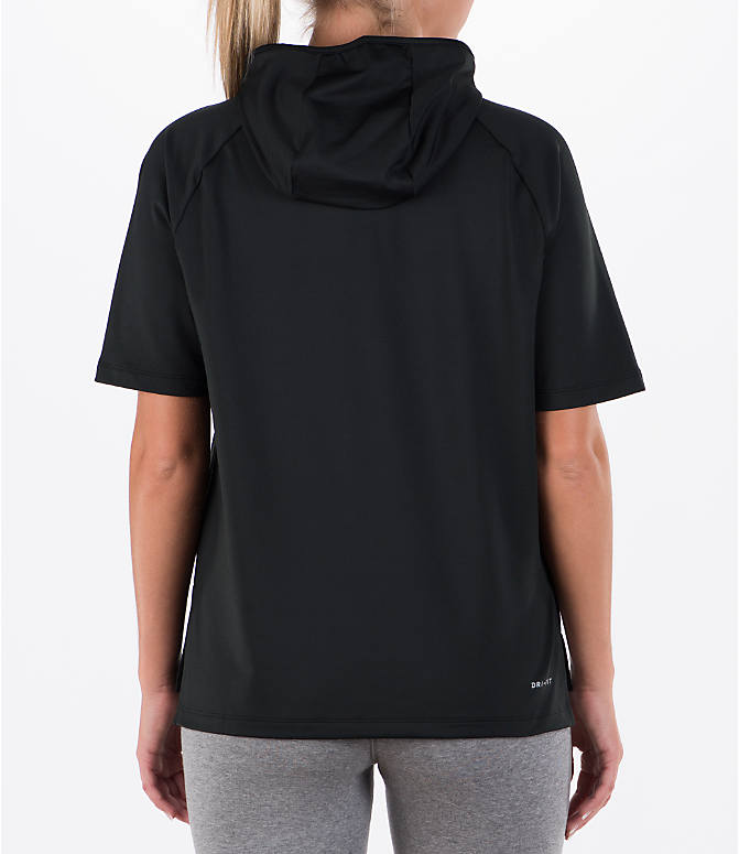 Back Right view of Women's Nike Running Short Sleeve Hoodie in Black