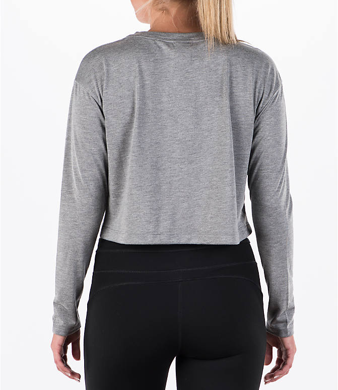 Back Left view of Women's Nike Sportswear Essential Crop Long Sleeve Top in Carbon Heather/Sail