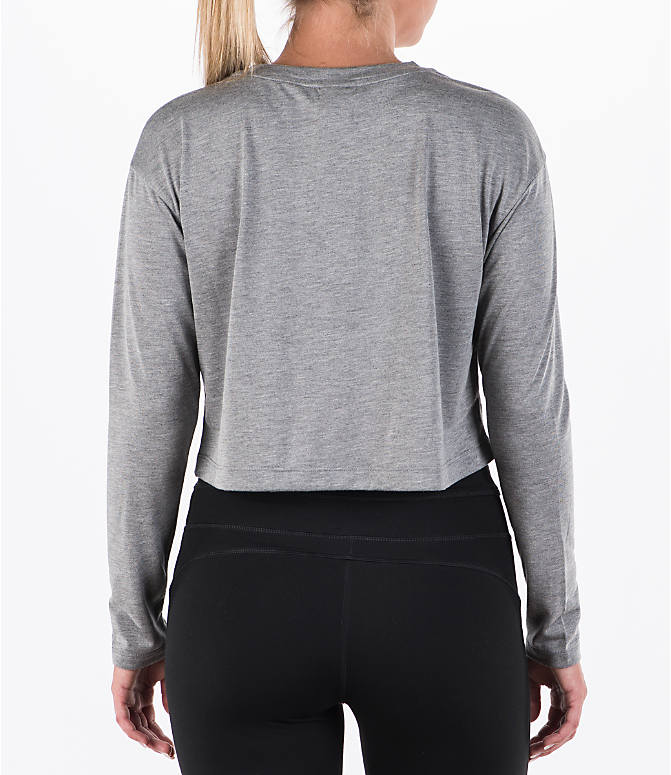 Back Right view of Women's Nike Sportswear Essential Crop Long Sleeve Top in Carbon Heather/Sail