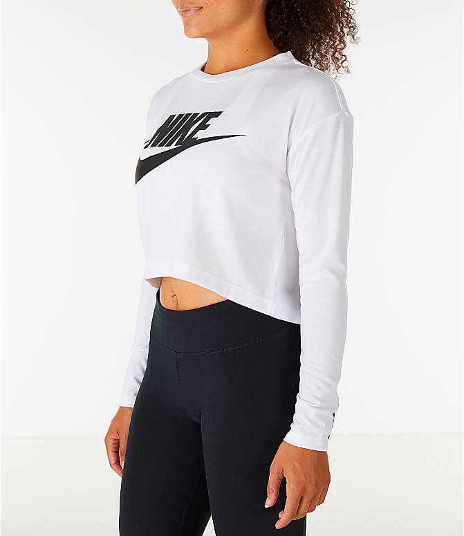 Front Three Quarter view of Women's Nike Sportswear Essential Crop Long Sleeve Top in White/Black