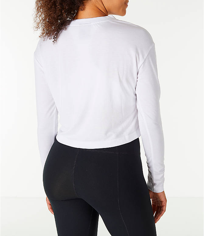 Back Right view of Women's Nike Sportswear Essential Crop Long Sleeve Top in White/Black