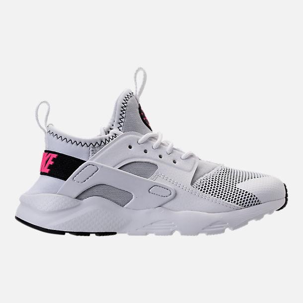 Right view of Girls' Preschool Nike Huarache Run Ultra Casual Shoes in  White/Black