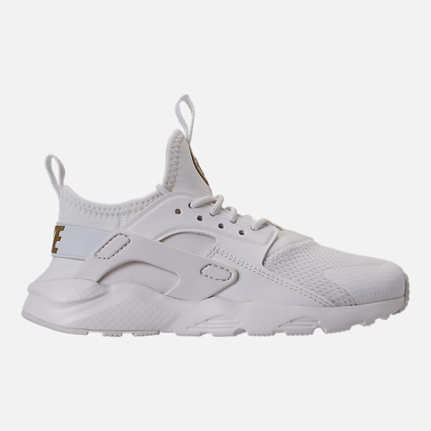 Right view of Girls' Preschool Nike Huarache Run Ultra Casual Shoes in Summit White/Metallic Gold Star