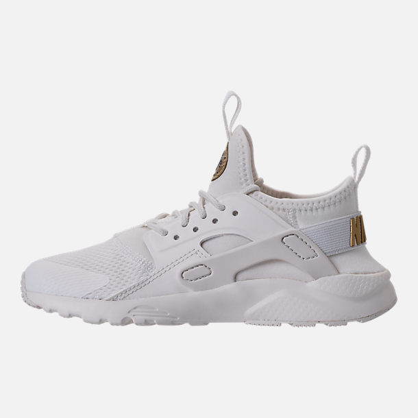 Left view of Girls' Preschool Nike Huarache Run Ultra Casual Shoes in Summit White/Metallic Gold Star
