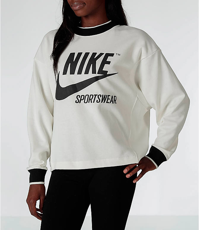Front view of Women's Nike Sportswear Archive Crew Sweatshirt in Sail