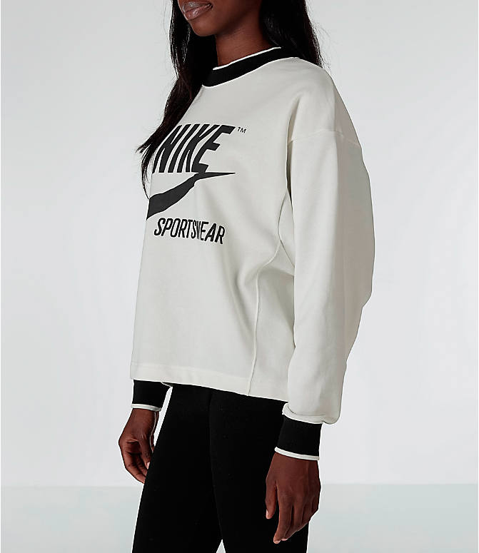 Front Three Quarter view of Women's Nike Sportswear Archive Crew Sweatshirt in Sail