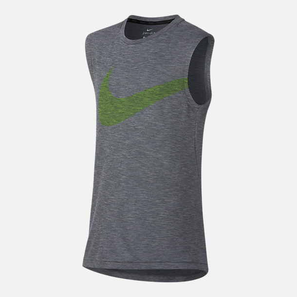 Front view of Boys' Nike Dry Breathe Training Tank in Grey/Volt