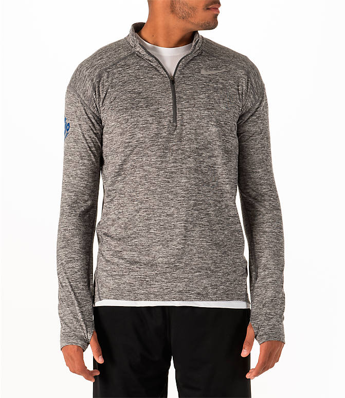 Back view of Men's Nike GO LA 10k Exclusive Dry Element Half-Zip Running Shirt in Dark Grey Heather