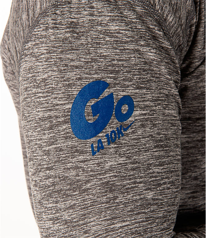Product 3 view of Men's Nike GO LA 10k Exclusive Dry Element Half-Zip Running Shirt in Dark Grey Heather