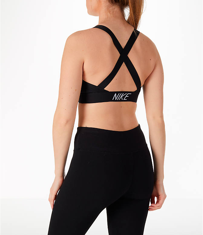 Back Left view of Women's Nike Pro Indy Logo Back Sports Bra in Black