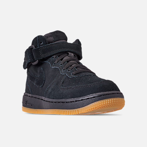 Three Quarter view of Boys' Little Kids' Nike Air Force 1 Mid LV8 Casual Shoes in Black/Black/Gum Light Brown