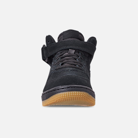 Front view of Boys' Little Kids' Nike Air Force 1 Mid LV8 Casual Shoes in Black/Black/Gum Light Brown