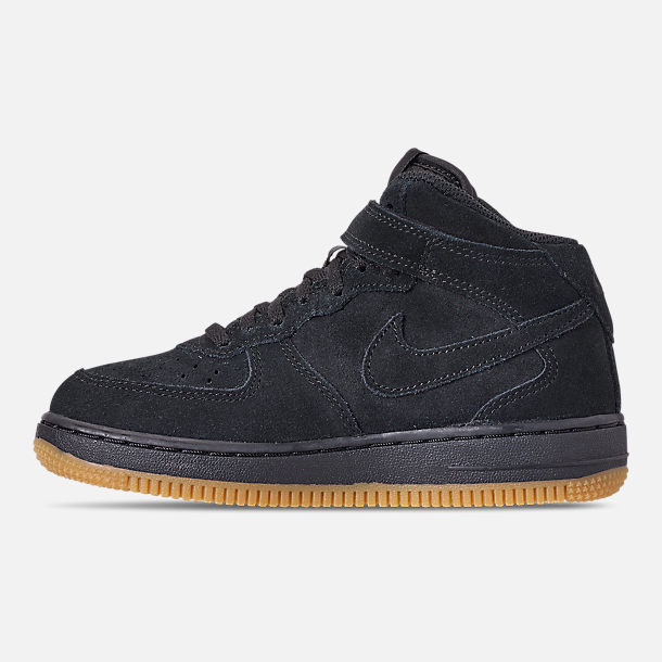Left view of Boys' Little Kids' Nike Air Force 1 Mid LV8 Casual Shoes in Black/Black/Gum Light Brown