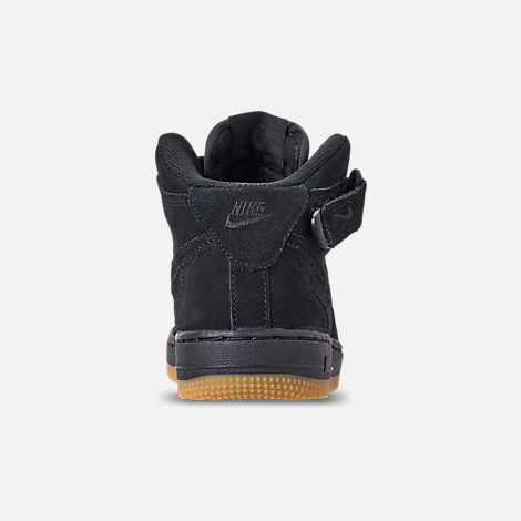 Back view of Boys' Little Kids' Nike Air Force 1 Mid LV8 Casual Shoes in Black/Black/Gum Light Brown