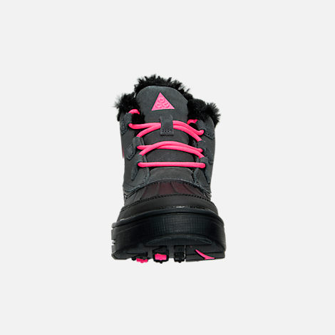 Front view of Girls' Grade School Nike Woodside Chukka 2 Boots in Anthracite/Hyper Pink/Black
