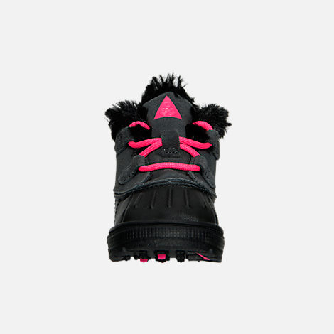 Front view of Girls' Toddler Nike Woodside Chukka 2 Boots in Anthracite/Hyper Pink/Black