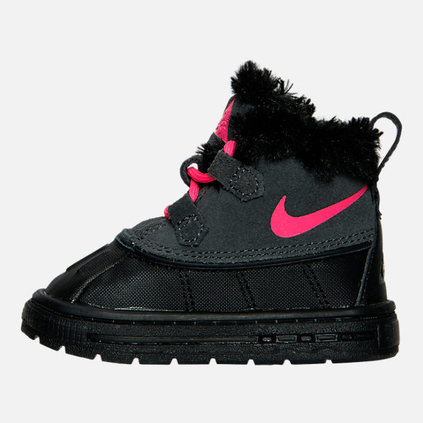 Left view of Girls' Toddler Nike Woodside Chukka 2 Boots in Anthracite/Hyper Pink/Black