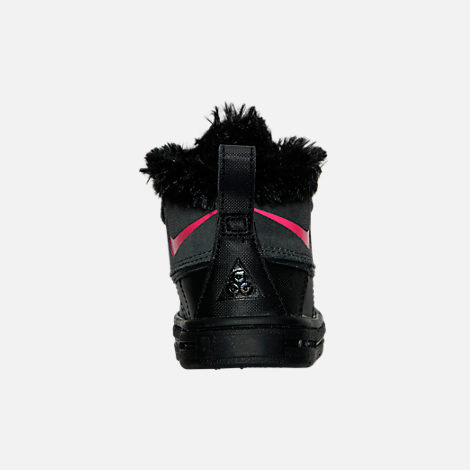 Back view of Girls' Toddler Nike Woodside Chukka 2 Boots in Anthracite/Hyper Pink/Black