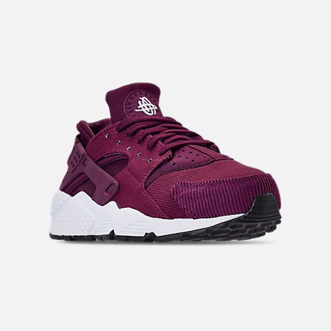 Three Quarter view of Women's Nike Air Huarache Run SE Casual Shoes in Bordeaux/Black/White