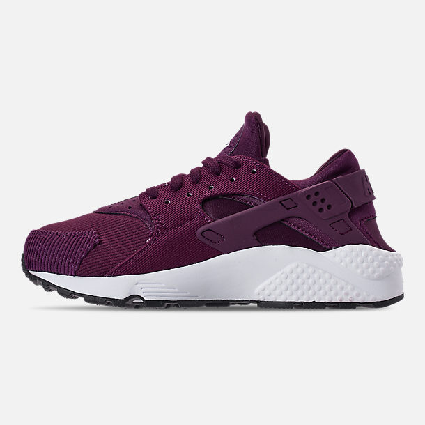 Left view of Women's Nike Air Huarache Run SE Casual Shoes in Bordeaux/Black/White