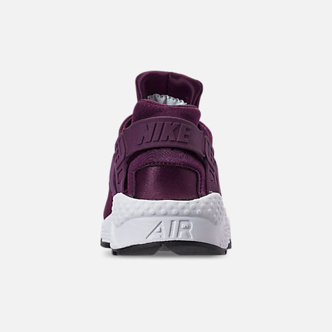 Back view of Women's Nike Air Huarache Run SE Casual Shoes in Bordeaux/Black/White