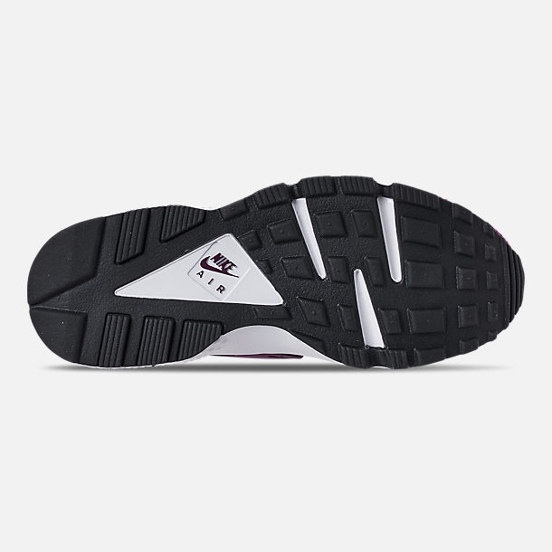 Bottom view of Women's Nike Air Huarache Run SE Casual Shoes in Bordeaux/Black/White