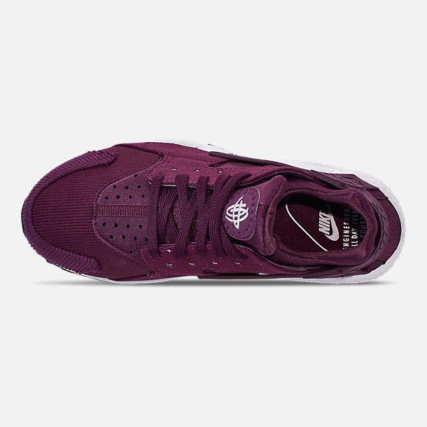 Top view of Women's Nike Air Huarache Run SE Casual Shoes in Bordeaux/Black/White
