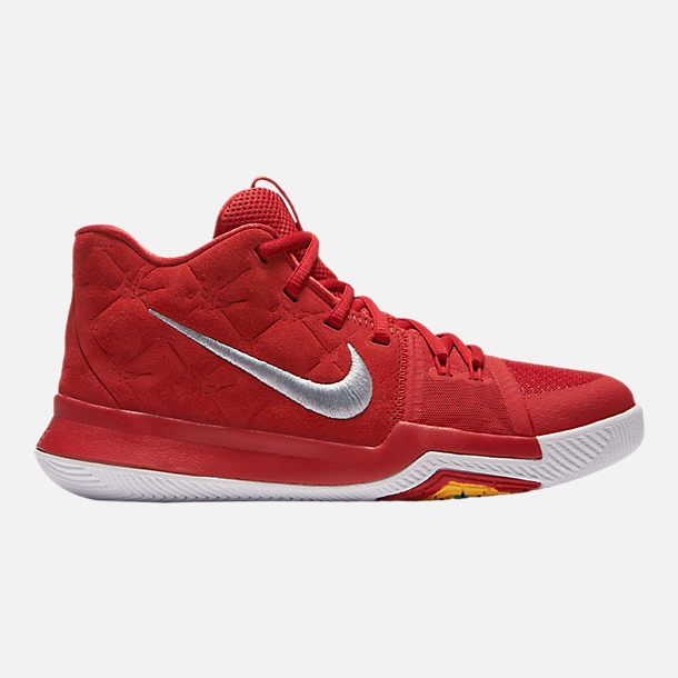 Right view of Boys' Grade School Nike Kyrie 3 Basketball Shoes in  University Red/