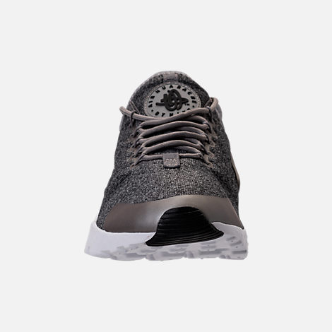 Front view of Women's Nike Air Huarache Run Ultra Casual Shoes in Dust/Metallic Pewter/Black/White